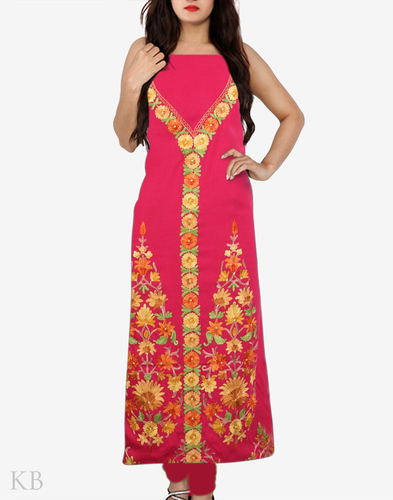 Punch Pink Aari Embroidered Summer Cotton Suit