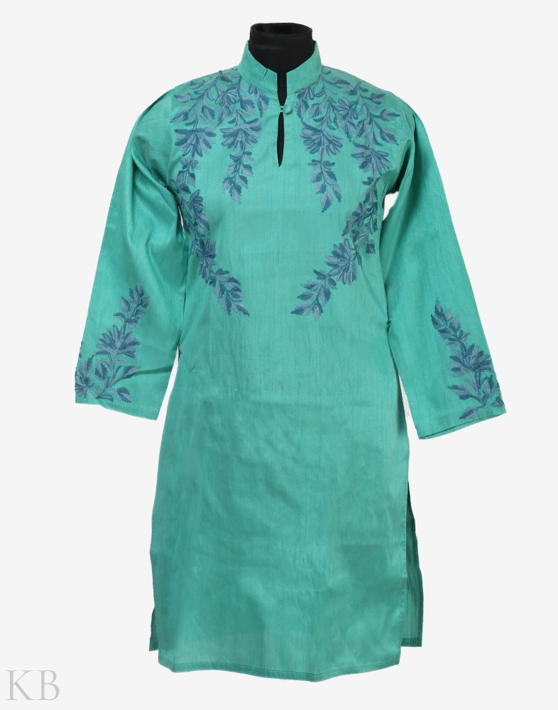 Mint Green Daisy Flower Embroidered Silk Kurti - KashmirBox.com