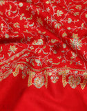 Red Sozni Embroidered Jaldaar Cashmere Pashmina Shawl