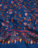 Blue Hand Embroidered Jaldaar Cashmere Pashmina Shawl