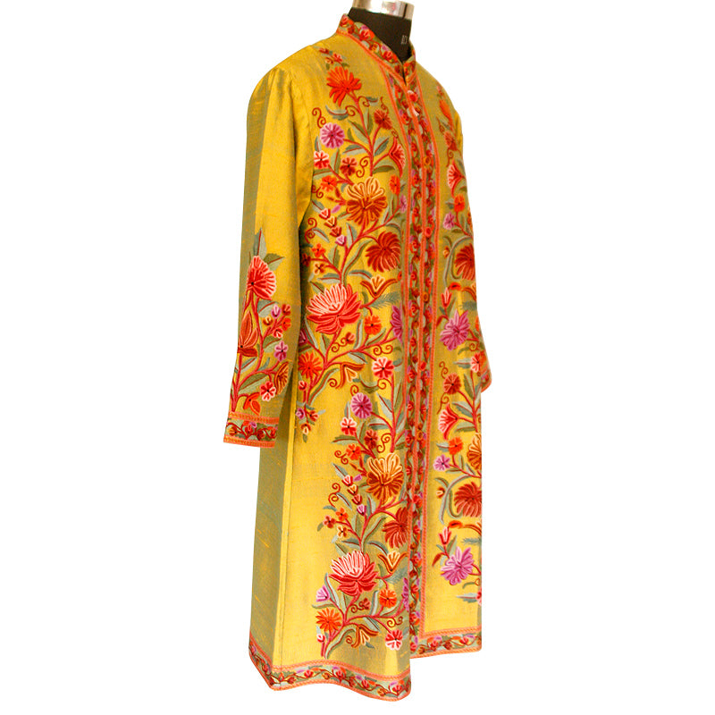 Hand Made Embroidered Yellow Green Silk Jacket - KashmirBox.com