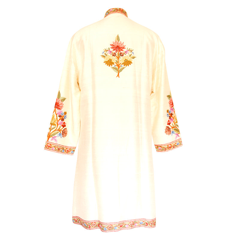 Hand Made Embroidered White Silk  Jacket - Kashmir Box