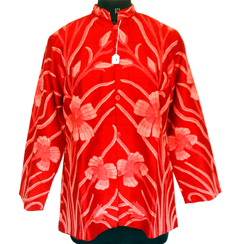 Hand Made Embroidered Red Short Silk Jacket