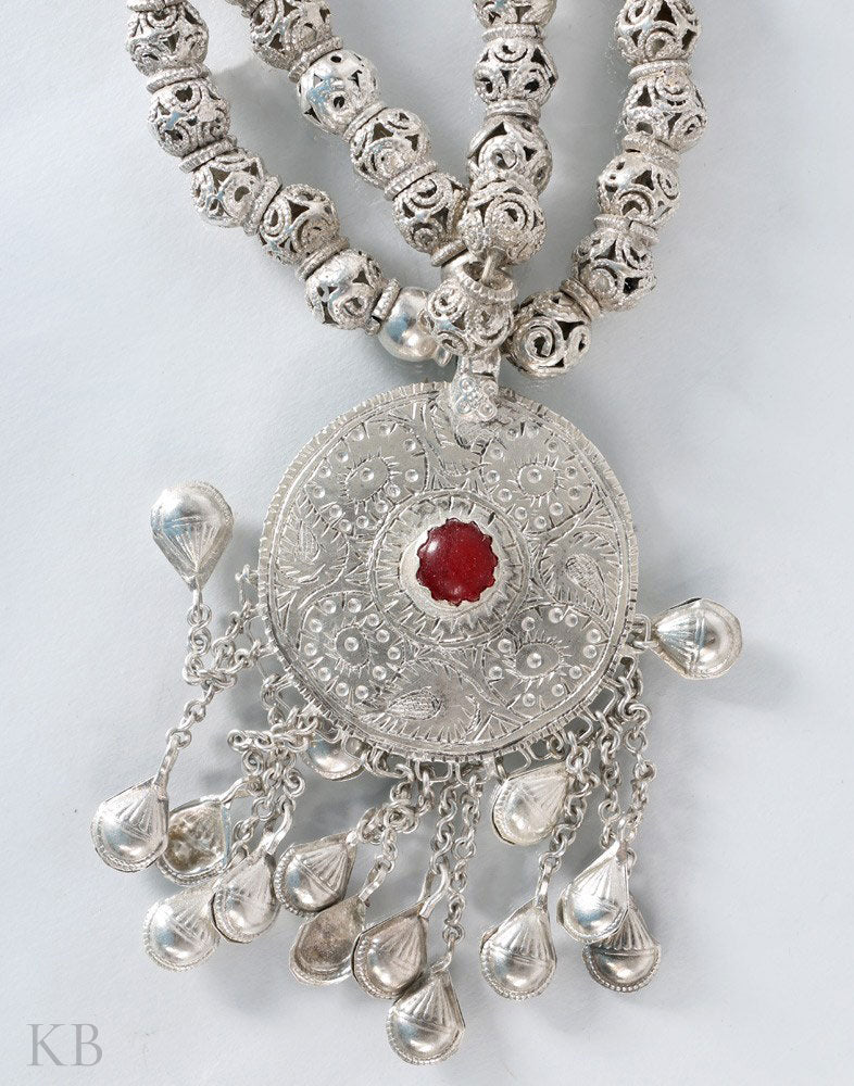 Beaded German Silver Necklace With Jhumkas