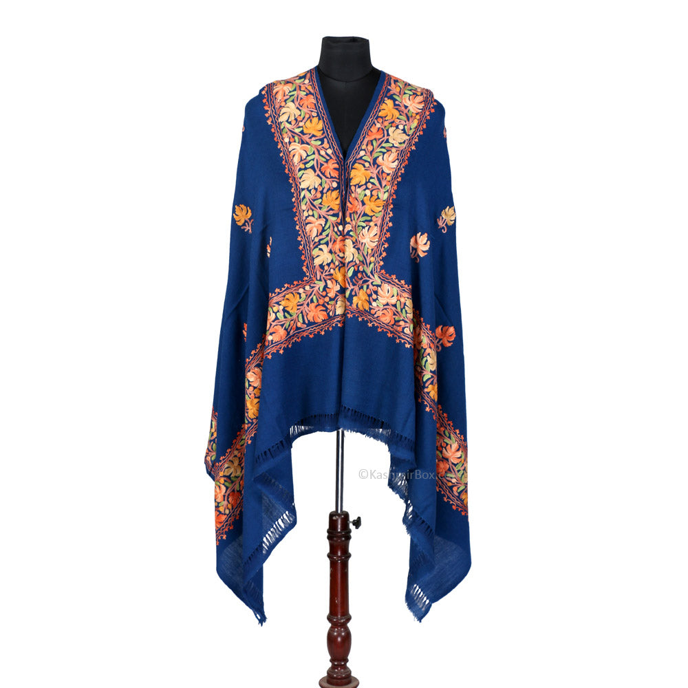Dark Blue Color Embroidered Shawl