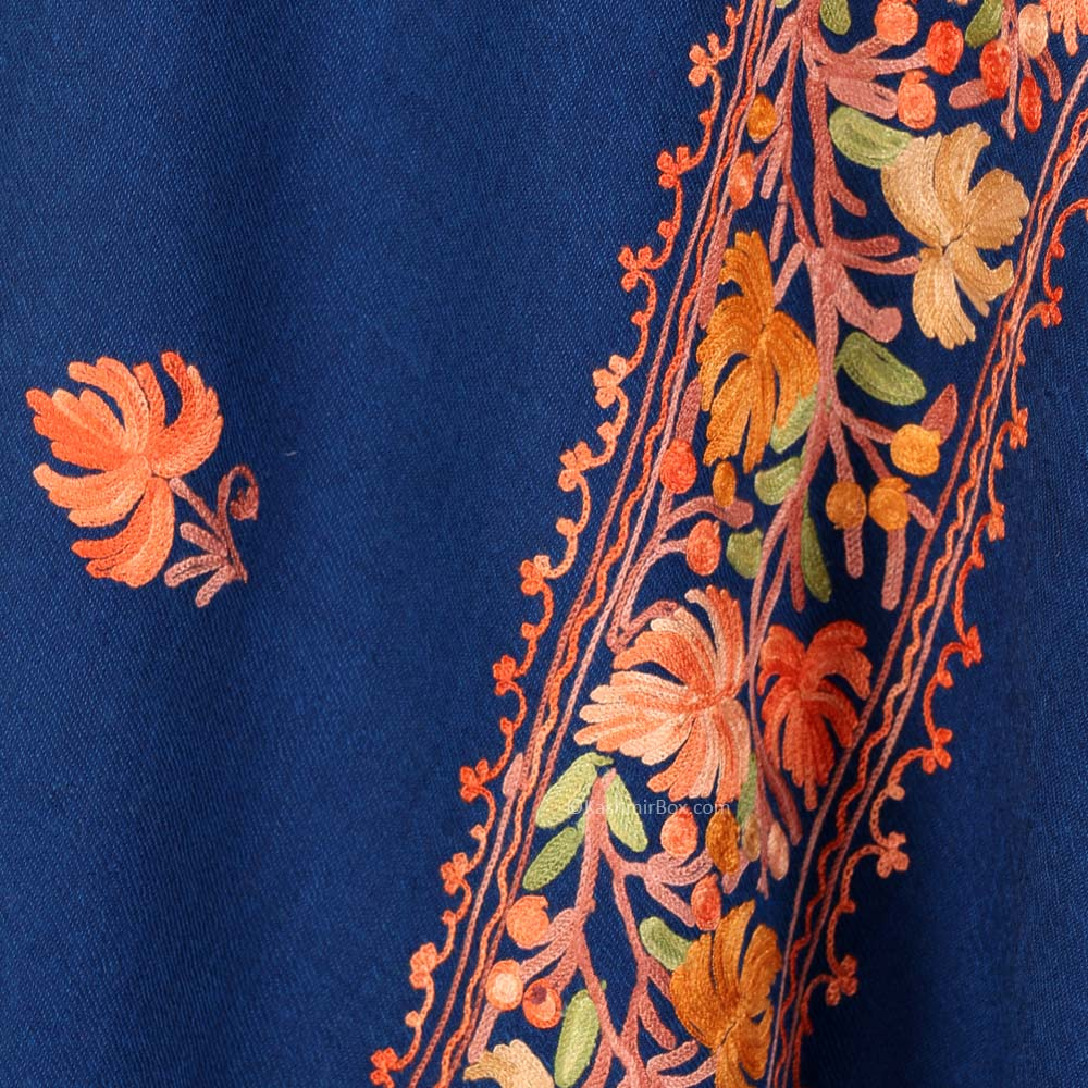 Dark Blue Color Embroidered Shawl - Kashmir Box