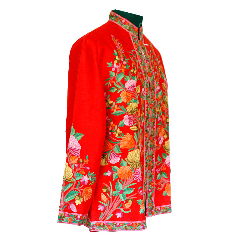 Red Hand Made Embroidered Short Silk Jacket
