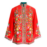 Red Hand Made Embroidered Short Silk Jacket - Kashmir Box