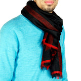 Pure Pashmina Strip Black Stole