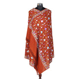 Pure Woolen Orange Shawl (Jaali Type)