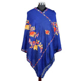 Pure Woolen Blue Embroidered Stole