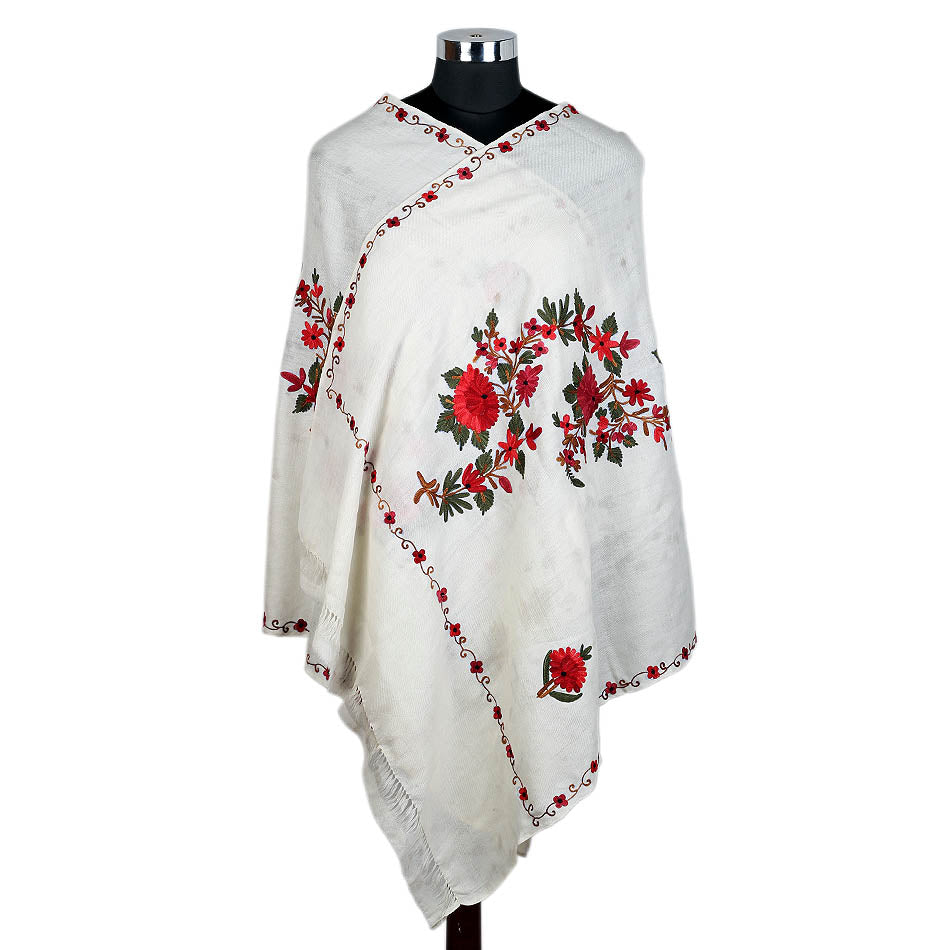 Pure Woolen White Rose Design Stole