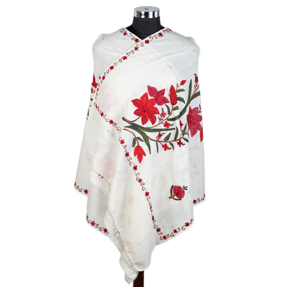 Pure Woolen White Flower Design Embroidered Stole - KashmirBox.com