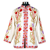 Kashmiri White Rose Short Woolen Jacket