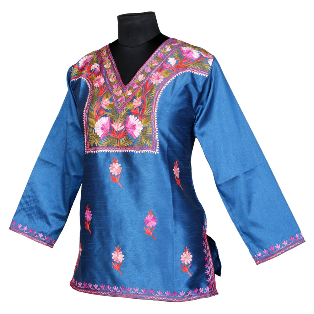 Skyblue Embroidered Short Silk Kurti