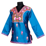 Skyblue Embroidered Short Silk Kurti - Kashmir Box