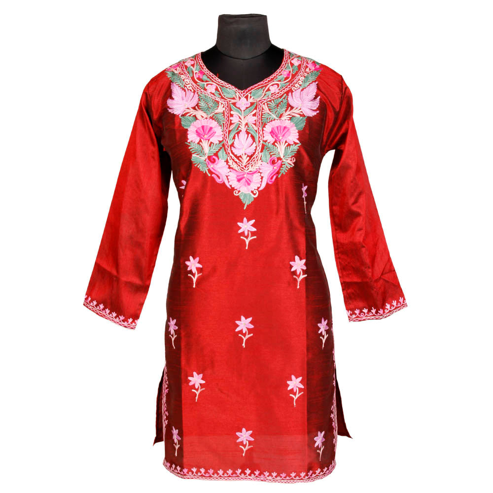 Rust Red Embroidered Silk Kurti