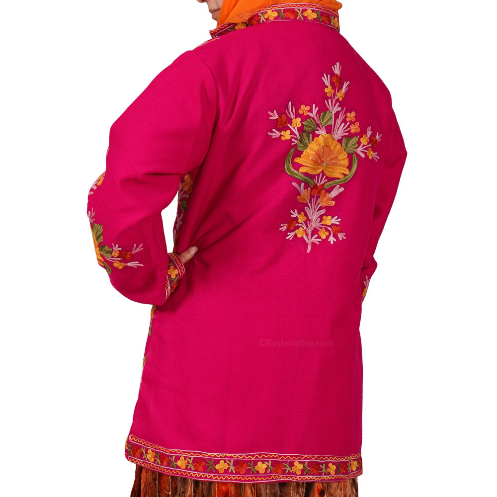 Pink Cashmilon Aari Short Jacket