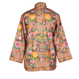 Crewel Embroidered Pastel Brown Woolen Short Jacket
