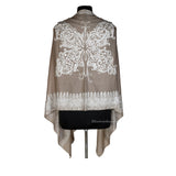 White Embriodered Butterfly Woolen Stole