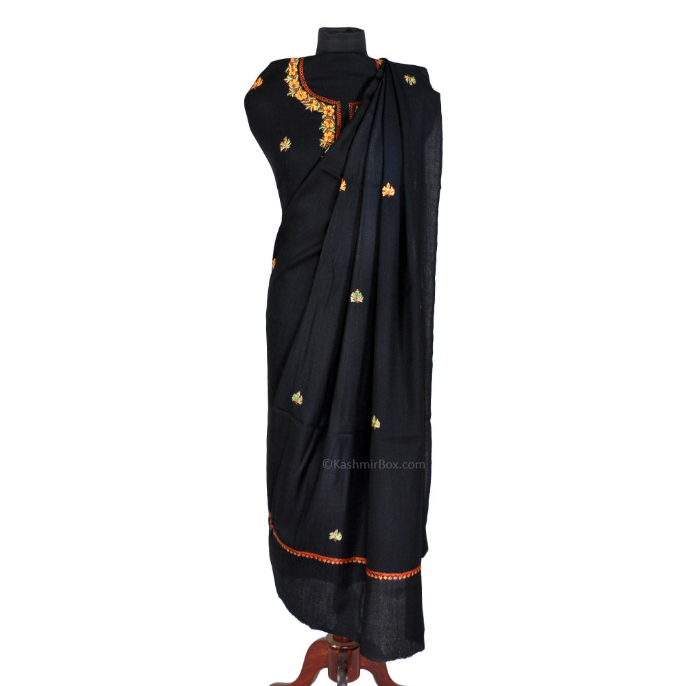 Sozni Embroidered Black Woolen Suit