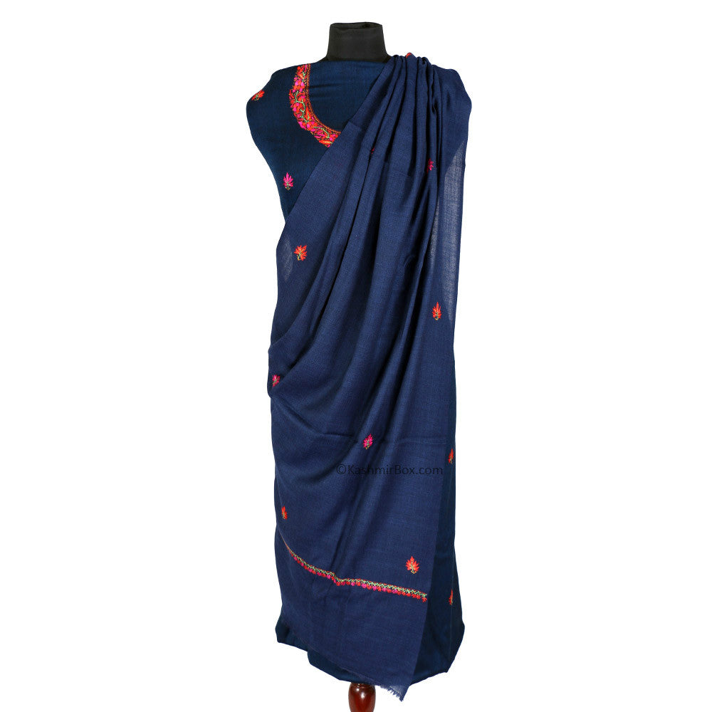 Sozni Embroidered Navy Blue Woolen Suit
