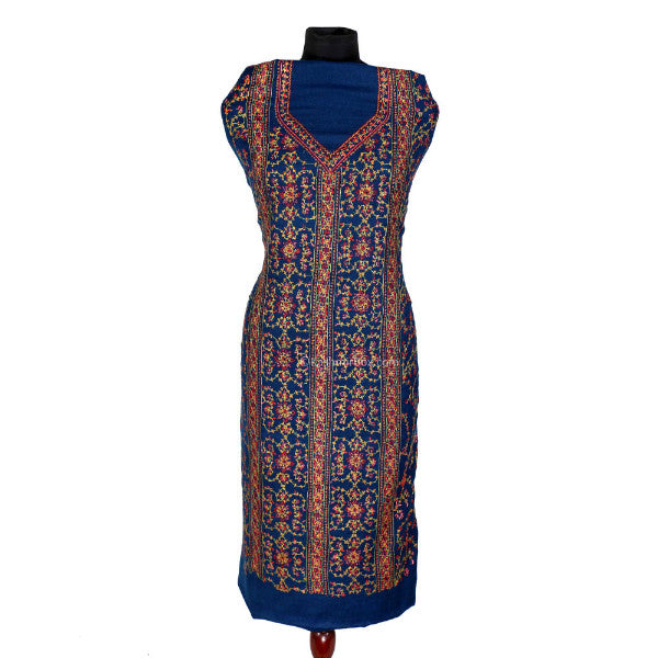 Sozni Embroidered Full Length Blue Woolen Suit