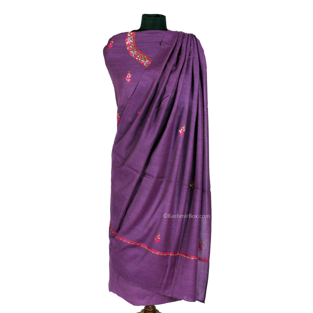 Sozni Embroidered Purple Woolen Suit