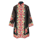 Colored Floral Night Shade Long Silk Jacket