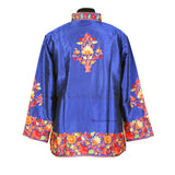 Multicolor Floral Navy Blue Short Silk Jacket