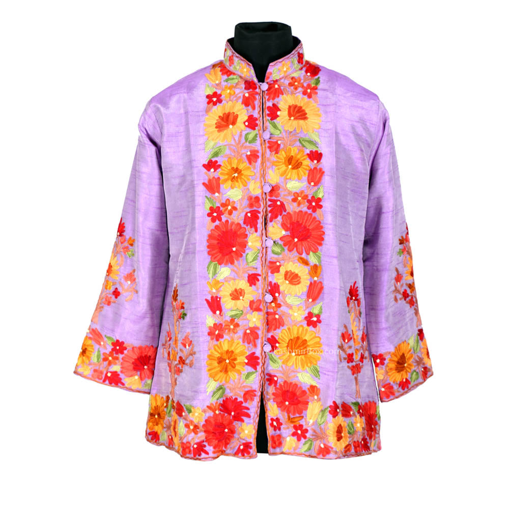 Bold Floral Orchid Short Silk Jacket