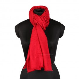 Red Basket Weave Woolen Stole