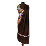 Brown Aari Kari Full Length Embroidered Woolen Suit