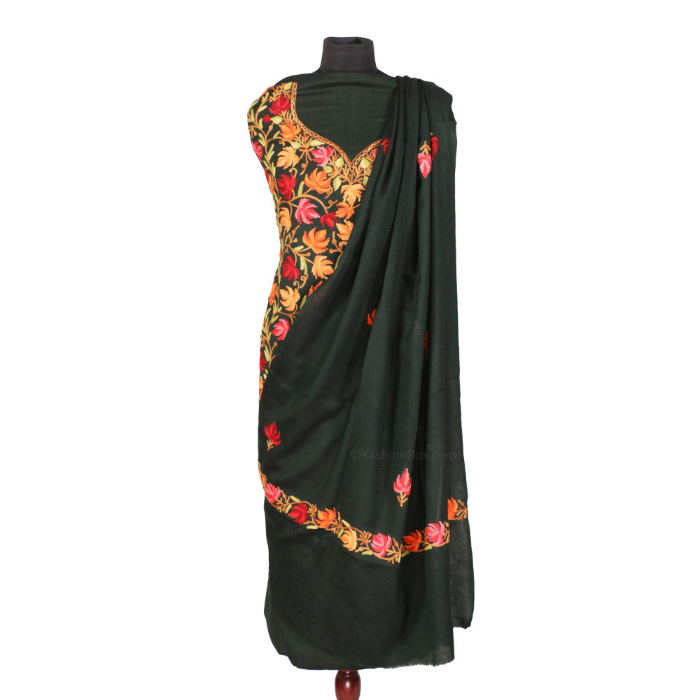 Bottle Green Aari Embroidered Woolen Suit