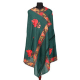 Dark Celery Chinar Embroidered Woolen Shawl