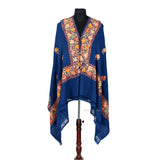 Deep Blue Aari Embroidered Woolen Shawl