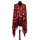 Deep Purple Vine Aari Embroidered Woolen Shawl