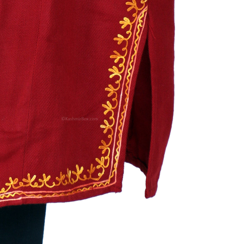 Maroon Aari Embroidered Cashmilon Phiran