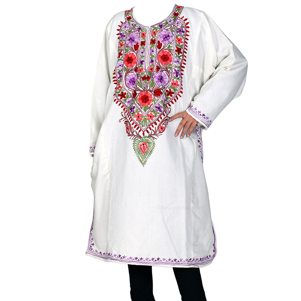 White Neck Embroidered Cashmilon Phiran - Kashmir Box