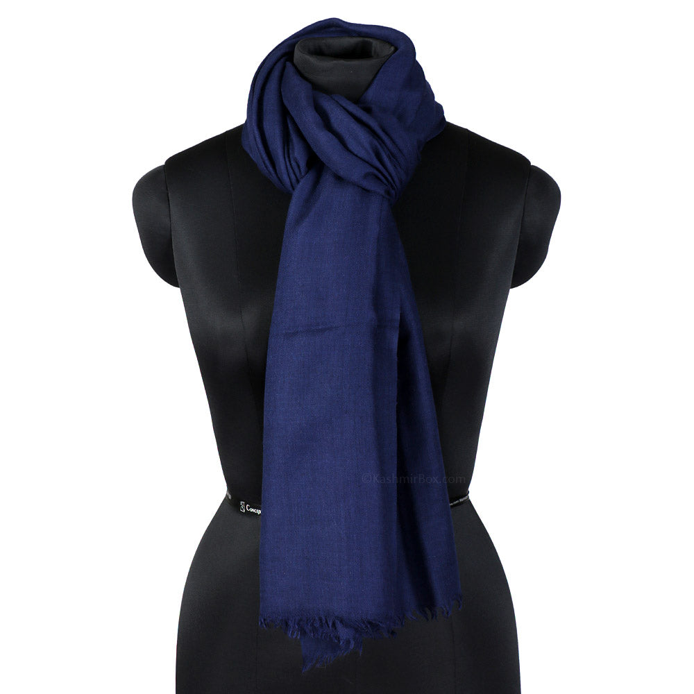 AMMA Navy Blue Pure Silk Stole