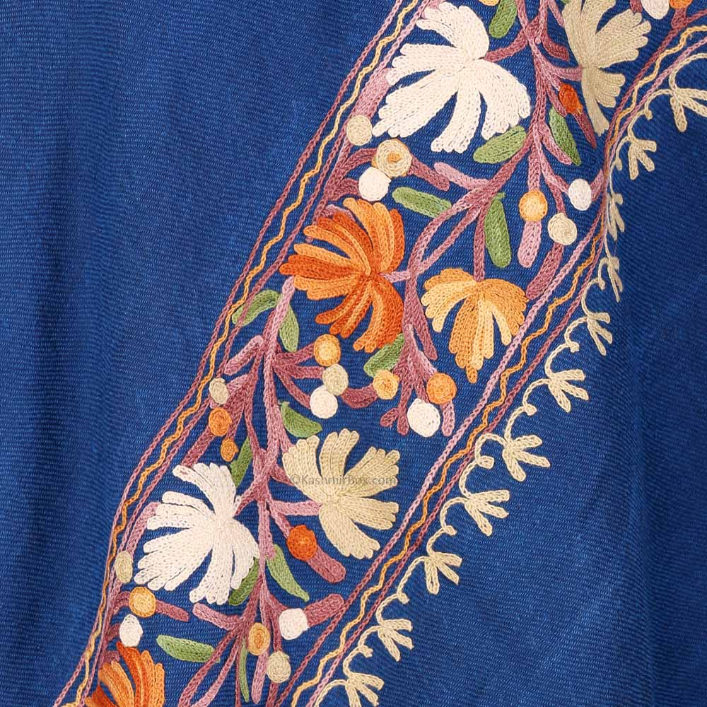 Royal Blue Aari Embroidered Woolen Shawl