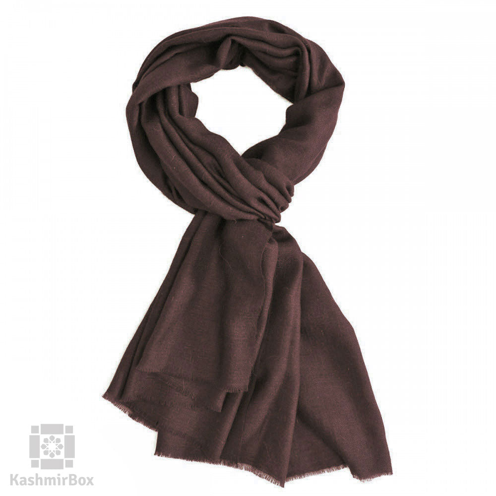 Deep Brown Woolen Scarf - Kashmir Box