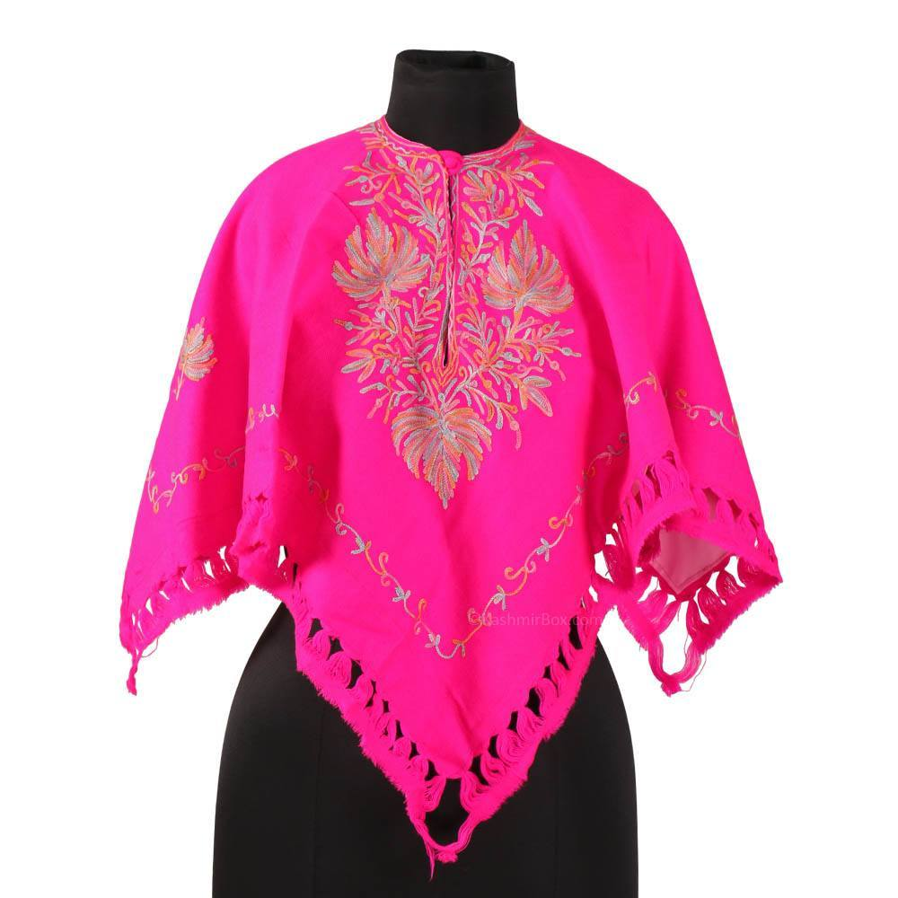 Vibrant Pink Aari Embroidered Poncho