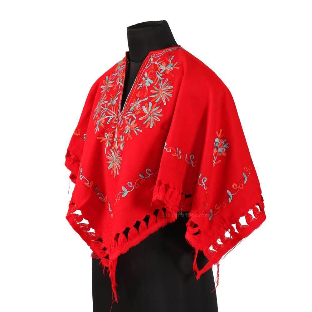 Red Aari Embroidered Poncho