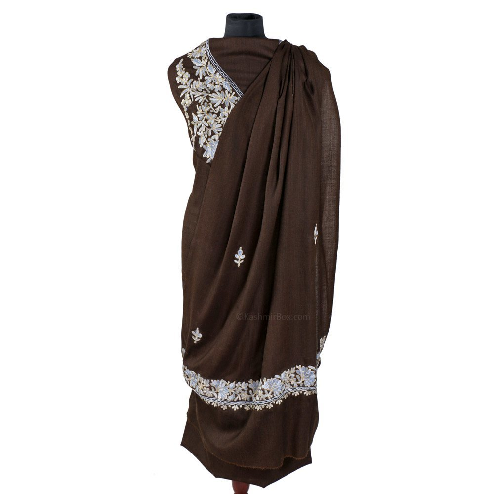Zari Lined Aari Embroidered Brown Woolen Suit