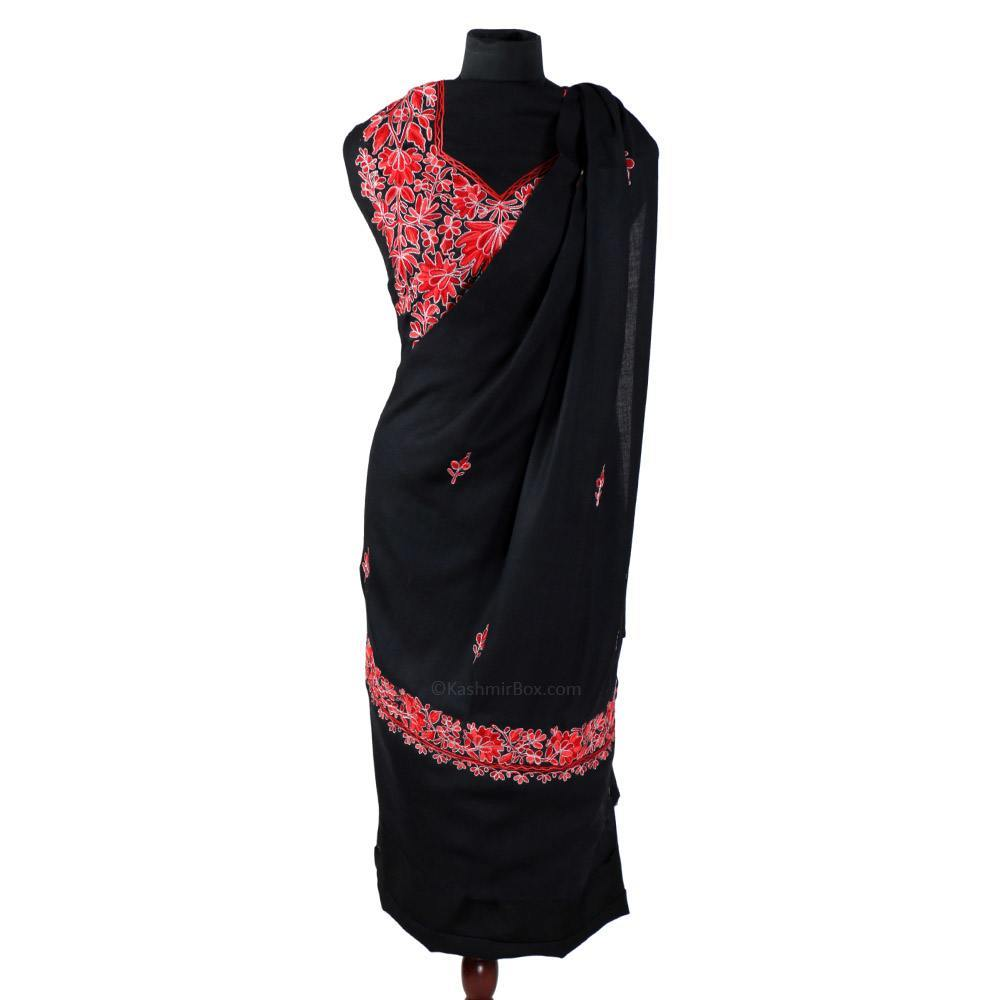 Zari Lined Aari Embroidered Black Woolen Suit