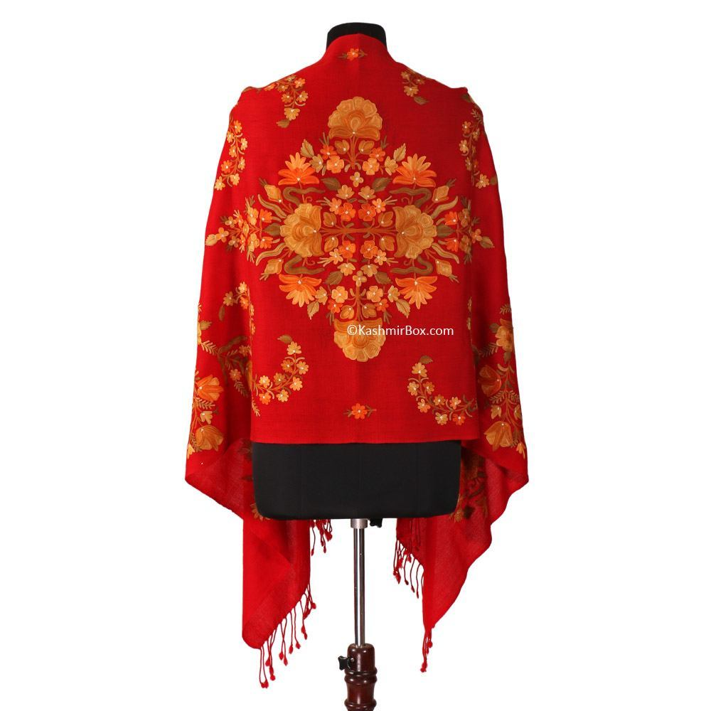 Embroidered Red Floral  Stole