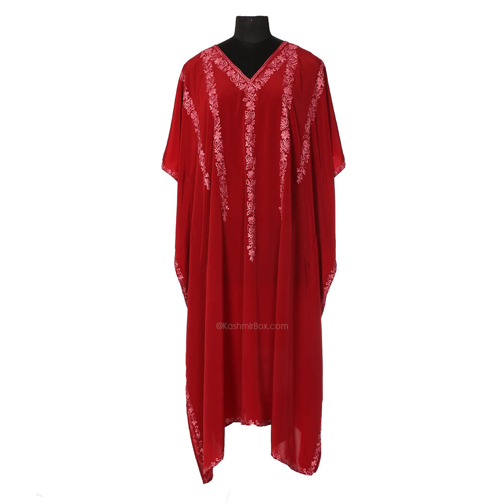 Maroon Crepe Embroidered Kaftan - Kashmir Box