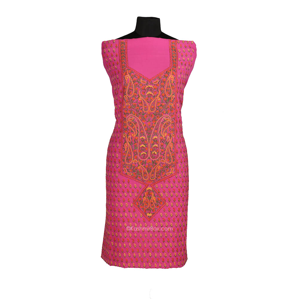 Magenta Panel Neck Aari Suit