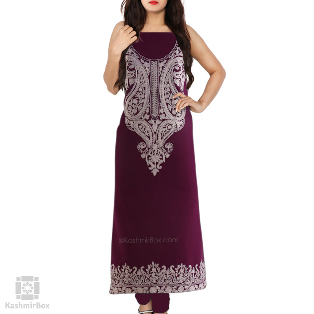 Zari Lined Purple Aari Embroidered Suit
